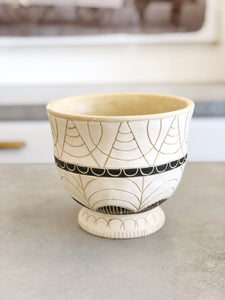 Bone and Black Etched Cement Pot