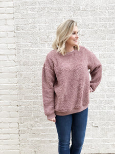 Cozy Plum Teddy Pullover