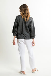Washed Black Pleated Sleeve Top