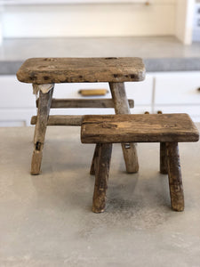 Mini Antique Wood Stool