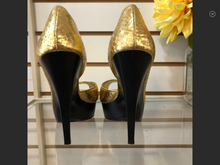 Load image into Gallery viewer, Bebe Gold Summer Wedge