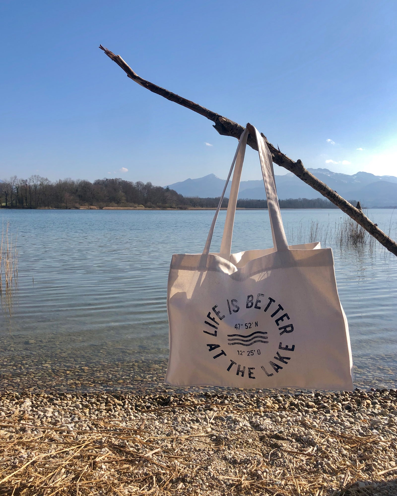 "Strandtasche Natur ""Life is better at the lake"""