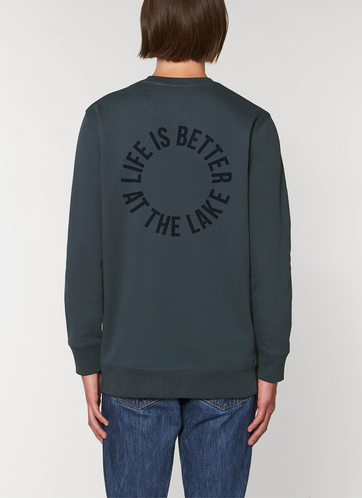 "Sweatshirt ""Life is better at the lake"" - Dunkelgrau - unisex"