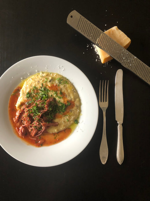 Slow Cooked Tomato  Pulled Pork with Creamy Mushroom Polenta