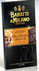 Baratti & Milano - Dark Chocolate Bar with Almond and Orange - 75g