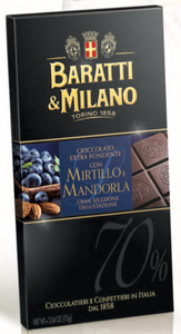 Baratti & Milano - Blueberry and Almond 70% Chocolate Bar - 75g