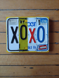 Upcycled License Plate Art - XOXO
