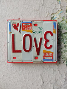 Upcycled License Plate Art - LOVE