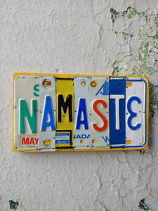 Upcycled License Plate Art - Namaste
