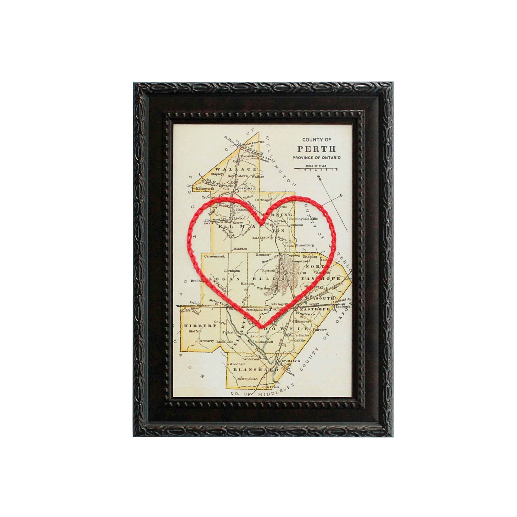 Perth County Heart Map 4x6