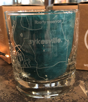 Etched Glassware- Map of 21784