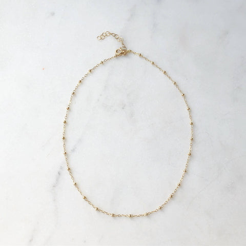 Token Beaded Choker - 14K Gold Fill