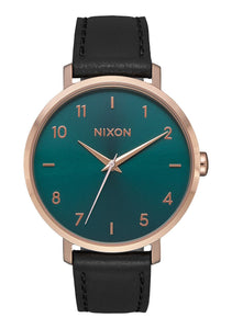 Nixon Arrow Leather Watch - Rose Gold/Emerald