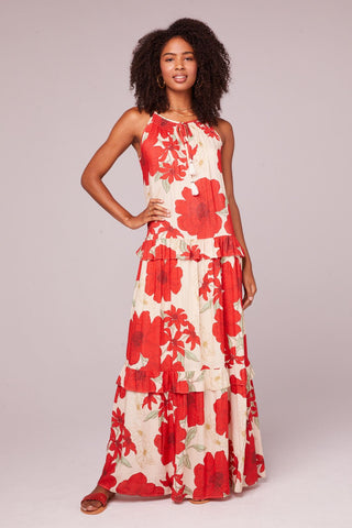 Band of Gypsies Del Ray Tiered Red Poppy Dress