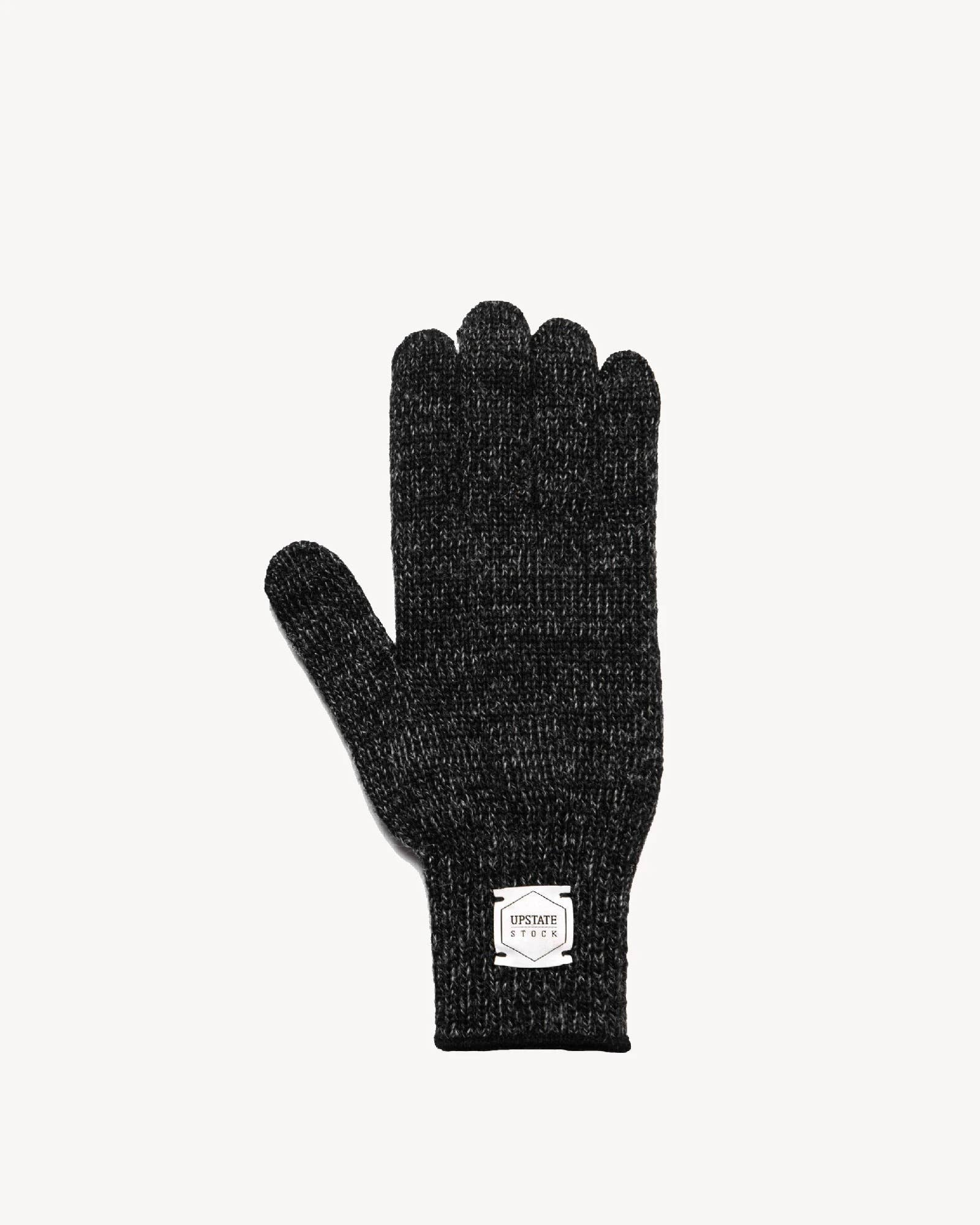 Black Melange Ragg Wool Full Glove