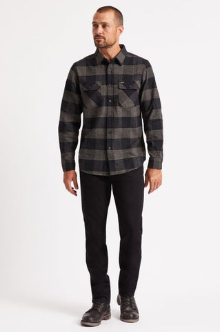 Brixton Bowery Long Sleeve Flannel Shirt - Black Steel