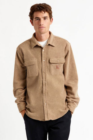 Brixton Bowery Fleece Long Sleeve Flannel Shirt - Oatmeal