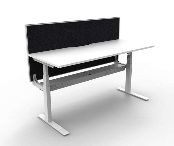 New & Improved Paramount Single Sided Electric Height Adjustable Workstation With Screen