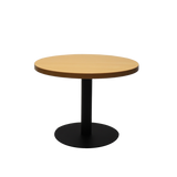 Round Coffee Table with flat Disc Base - Black Powder Coat Finish