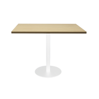 Square Flat Disc Base Table in White Powder Coat Finish