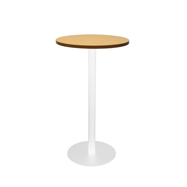 Circular Dry Bar Table with flat Disc Base - White Powder Coat Finish