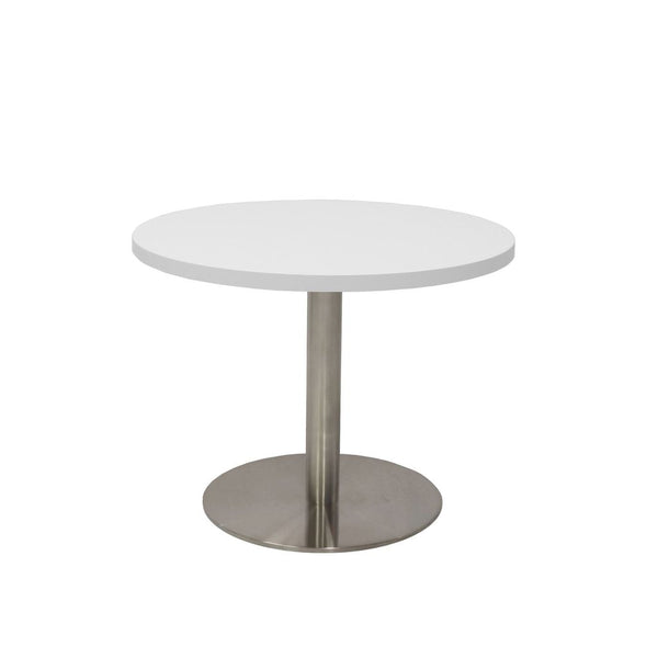 Round Coffee Table with flat Disc Base - Stainless Steel Finish