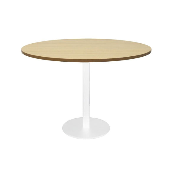 Round Flat Disc Base Table in White Powder Coat Finish