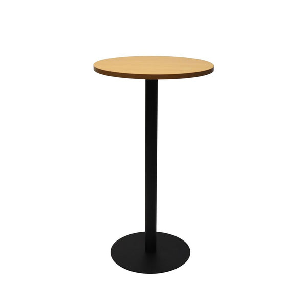 Circular Dry Bar Table with flat Disc Base - Black Powder Coat Finish