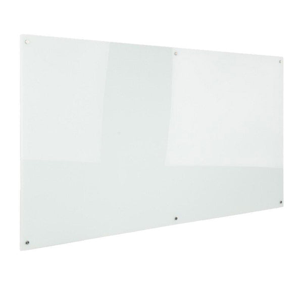 Glass Writing Board with Chrome Fittings - 2400mm W x 1200mm H x 15mm D