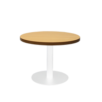 Circular Coffee Table with flat Disc Base - White Powder Coat Finish