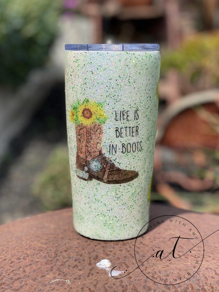 Cowboy Boot Tumbler - CraftingwithAmy