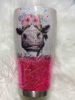 Pink and white tumbler - CraftingwithAmy