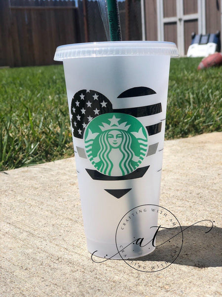Thin Grey Line Starbucks Cold Cup - CraftingwithAmy