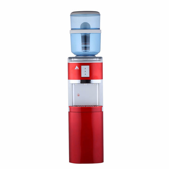 Aimex Free Standing Red Water Cooler Dispenser with 8 Stage Filter Cartridge & Lower Storage Cabinet - Mari Australia