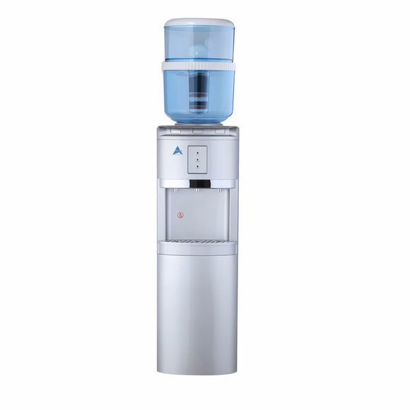 Aimex Free Standing Silver Water Cooler Dispenser with 8 Stage Filter Cartridge & Lower Storage Cabinet - Mari Australia
