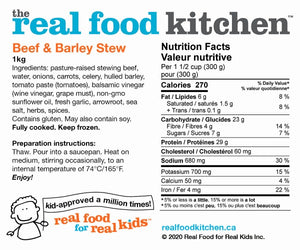 Beef Barley Stew Label Info Nutritional Facts
