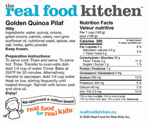 Golden Quinoa Pilaf Label