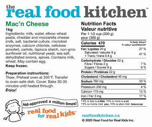 RFK Macaroni and cheese nutrition facts info label