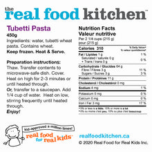 Load image into Gallery viewer, Cooked Tubetti Pasta Label Nutritional Facts
