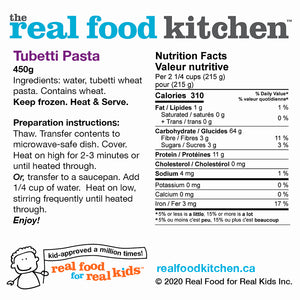 Cooked Tubetti Pasta Label Nutritional Facts