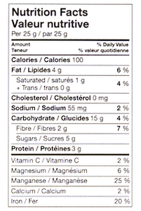 Wise Bites Oat Quinoa Fudge Nutritional Info
