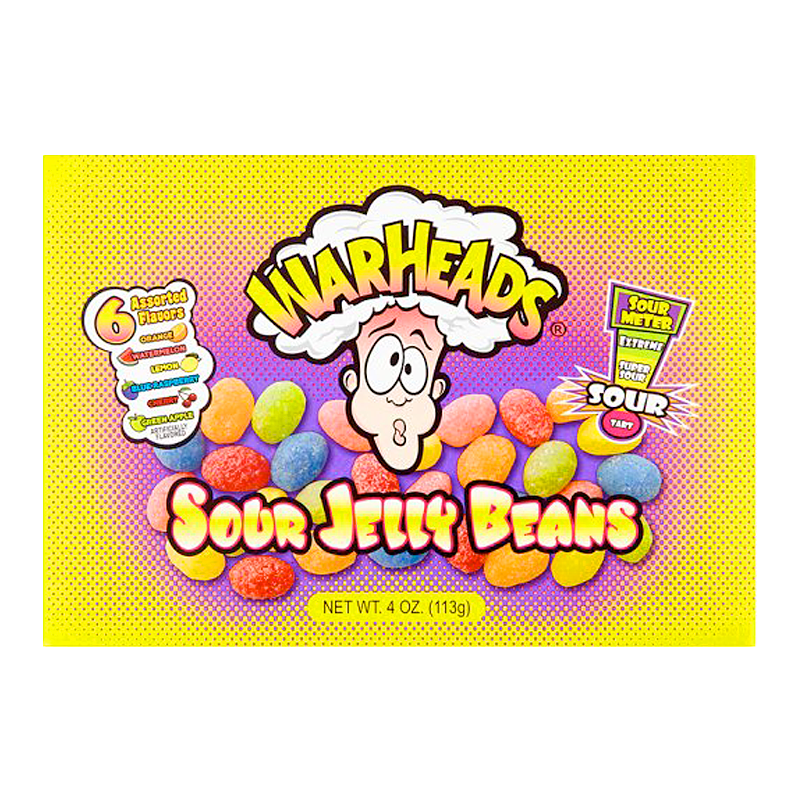 Warheads Sour Jelly Beans Theatre Box 4oz (113g)