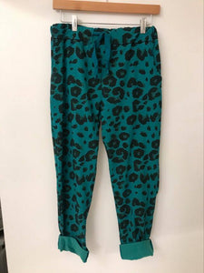 Magic Trousers Leopard Print Teal