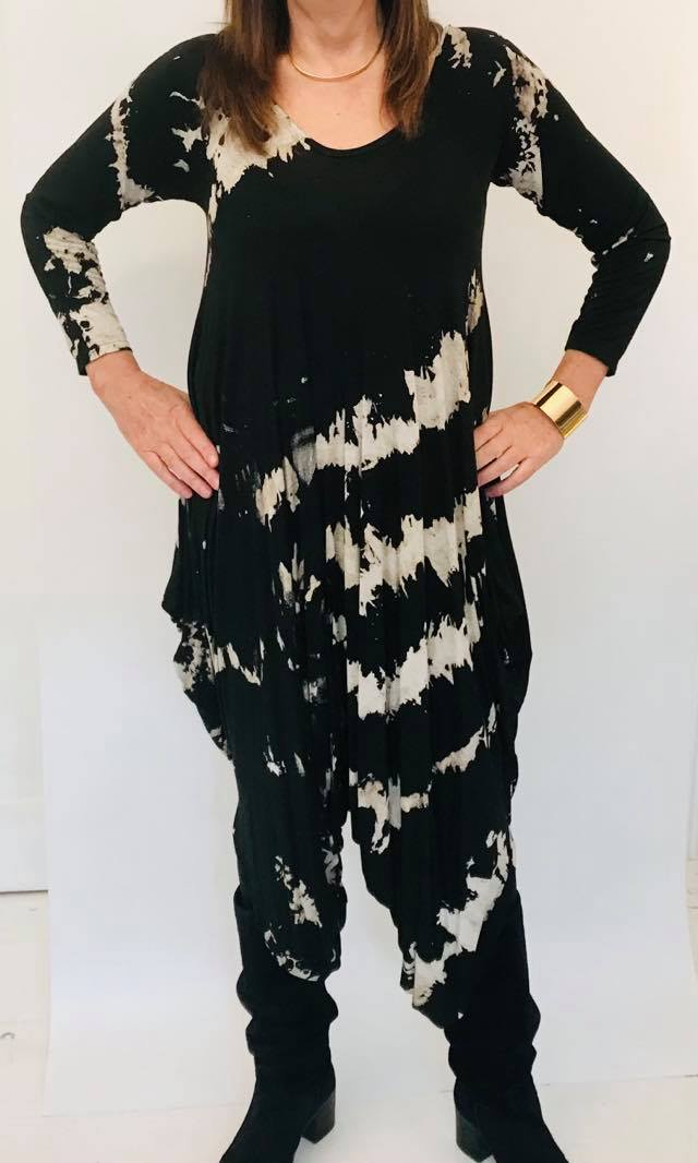 Parachute Jumpsuit Black Splash Print