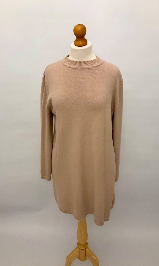 Sweater Dress With Buttons On Back Pink