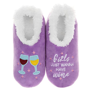 Snoozies Slippers Girls Wanna Have Wine