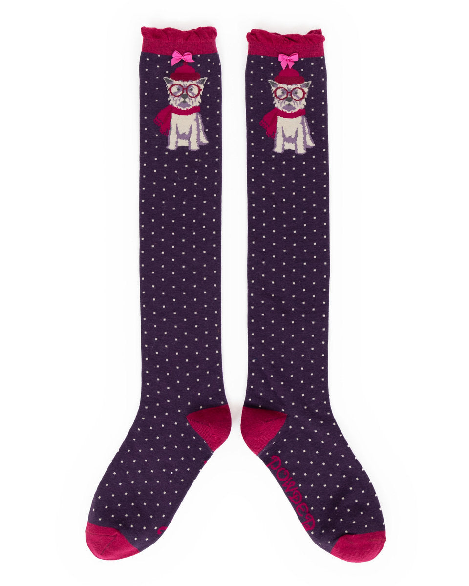 Knee High Socks Westie Purple