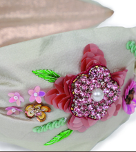Load image into Gallery viewer, Embroidered Floral Headband Champagne