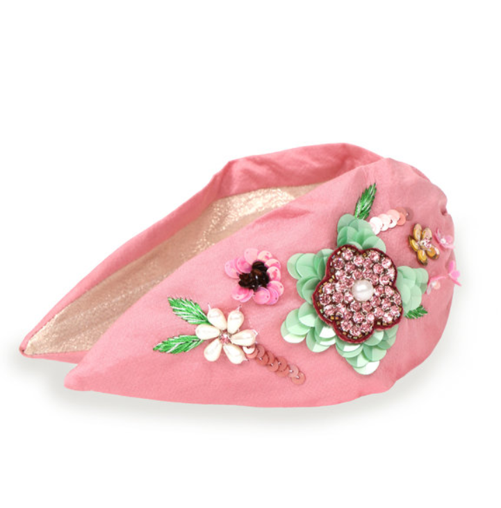 Embroidered Floral Headband Pink