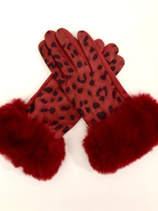 Faux Fur Animal Print Gloves Burgundy